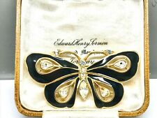 Trifari Black Enamel & Crystal Diamanté Butterfly Brooch