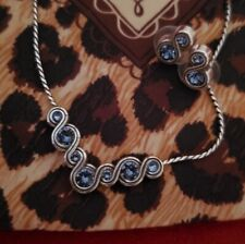 Brighton INFINITY SPARKLE BLUE Crystal Silver Necklace  Earrings Set w/ Dust Bag