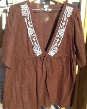 NEW MERONA 24 W 26 W WHITE BROWN STITCH LINEN BATHING SUIT COVER UP CRUISE SHIRT