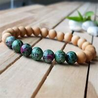 8mm Natural Ruby Zoisite Beads Handmade Bracelet 7.5inch Healing Buddhism