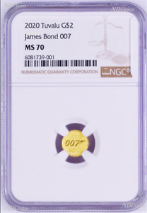 2020 James Bond 007 $2 0.5g .9999 Gold COIN NGC MS70 Brown Label