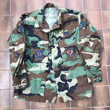 Genuine US American Army Woodland Camo Badged BDU Shirt Medium Short BD13