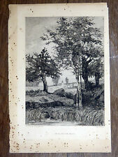 Gravure à l'eau-forte de TANCRÈDE ABRAHAM Un village en Anjou - Fin 19e siècle