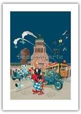Affiche Olivier SCHWARTZ BD Spirou et Fantasio Le Groom vert de gris 50x70 cm