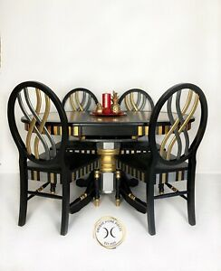 Oval Round Black Gold Silver Resin Wood Dining Table & 4 Chairs