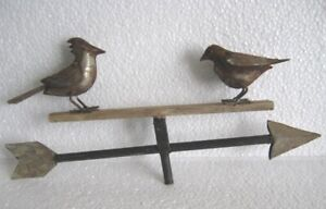 VINTAGE TWO IRON BIRDS ON SEE SAW WEATHER VANE . FULL BODY .