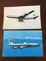 Lufthansa Airplane Lot of 2 Postcard Boeing Jet intercontinental D-ABOB 1960s