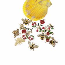 Lot of 12 Mix Assorted Enamel Metal Flower and Honeybee Charm Pendant Findings