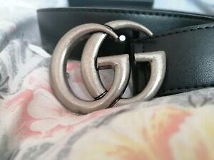Gucci Belt Silver GG Medium Leather