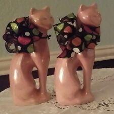 2 Set Vintage Antique Ceramic Cat Statue/Figurines, Marked China Logo Red Ink
