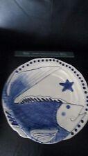"Large 14"" Blue Sky Clayworks Fish Platter Ocean Ceramic Magic Sea Diane Cobalt"