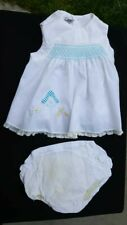 Beautiful Vintage White Baby Dress with Lace and Pants