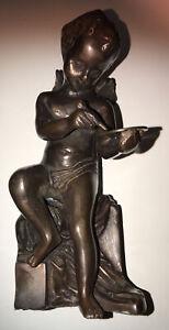 Bronze Cherub Excellent Condition Holding A Coin Angel Vgc Vintage Bronze