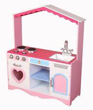 Kiddi Style Girls 'Heart' XLarge Childrens Kids Pretend Play Toy Wooden Kitchen