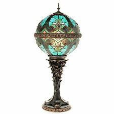"""Tiffany-Style Choice of 26.5"""" Halston Orb Stained Glass Table Lamp Turquoise New"""