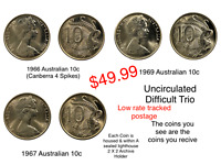 Australian 1966, 1967, & 1969 10 Cent UNC Harder Dates (3 X Coin Special)