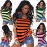 Women Clubbing Top Ladies Striped Vest Blouse Hot Party Shirt Size 6 8 10 12