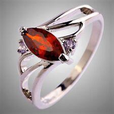 Neu Damen Design Rot Granate Topas Edelstein Sterlingsilber 925 Ring Gr.16,8 mm