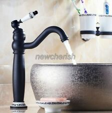 Black Oil Rubbed Brass Swivel Spout Kitchen Sink Mixer Bath Tap Faucets nnf506