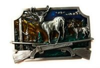 Deer Scenery rifles crossed Belt Buckle Antique silver BG Whitetail hunting USA