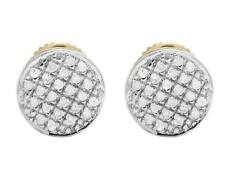 Ladies Men's 10K Yellow Gold Real Diamond Round Pave Stud Earrings .33ct 7MM