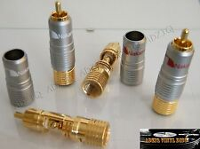 ♫ 4 FICHES  RCA NAKAMICHI  GOLD 24K SANS SOUDURE GROS CABLE CABLE AUDIO DIY ♫