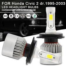 2pc LED Headlight Bulbs Kit H4 9003 High Low Beam For Honda Civic 2 dr.1995-2003