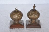 2 Pc Old Brass & Wooden Engraved Handcrafted Unique Shape Kumkum Box