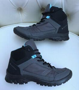 Decathlon Ladies Grey Blue Hiking Walking Flat Boots Size 5 .5 Eur 39