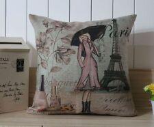 Retro Paris Eiffel Tower Office Lady Home Decor Pillow Case Cushion Cover 18''
