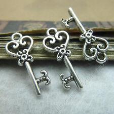 20pc Retro Tibetan Silver 2-Sided Key Pendant Charms Findings Wholesale BO205P