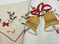 New Listing3 Vintage Runner Dresser Scarf Christmas Holiday Mantel Embroidered Estate Find