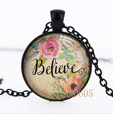 Believe inspirational word Glass Dome black Chain Pendant Necklace wholesale