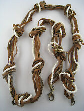 Bronze/Topaz/White Glass Bead Leather Knotted Necklace