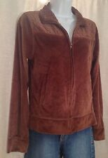 ROK Size Large CHOCOLATE BROWN Soft Velour Full Zip Collar Athletic TRACK Jacket