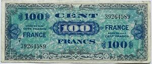100 CENT FRANCS FRANCE FRENCH PRE-BANKNOTE BILLET EUROPE 1944 SERIES WW2 ISSUE