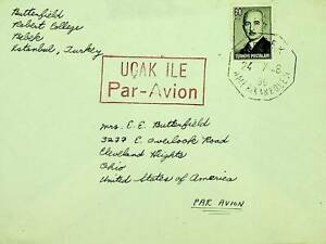 TURKEY 1948 POST WWII 60k ON A/M COVER ISTANBUL TO USA