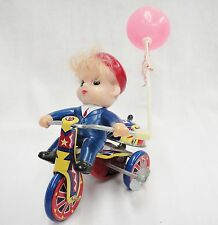 Vintage MTU Tin Wind Up Toy Boy on Tricycle Happy Days Balloon Bell Rings Works