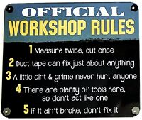 """WORKSHOP RULES - Small Home Decor Metal Plaque Sign  - 7"""" X 6"""" Great Dad Gift"""