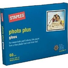"""Staples Photo Plus Paper, 4"""" x 6"""", Gloss, 60/Pack, 648177, NEW, Sealed"""