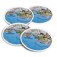 4x Round Stickers 10 cm - Llanelli Wales UK Travel Map  #45594