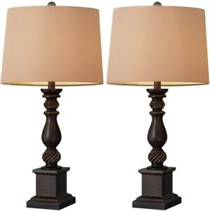 Oneach Table Lamp Set of 2 for Bedroom Rustic Bedside Table Desk Lamps for Room