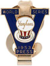 "1953 WORLD SERIES NEW YORK YANKEES ENAMEL & BRASS ""PRESS"" MONEY CLIP PIN BUTTON"