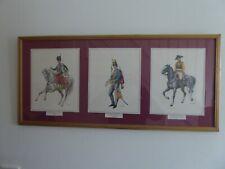 Vintage Framed Triple Prints of German Military 1760-1845 83cm x 38cm