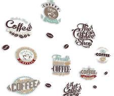 Küchendeko KAFFEE LOGOS L Set Wandbild Wandtattoo 15 Aufkleber Sticker Aufkleber