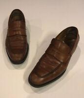 Johnston Murphy Mens Brown Sheepskin Loafers Sz 9.5 W Casual Slip On Dress Shoes