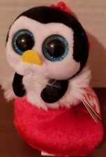 """Ty Baby Beanies Earmuffs Penguin in Stocking w/Clip 3""""  Unisex 3 yrs+ New 2016"""