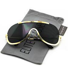 NEW Elite OVERSIZED XX Large SHIELD Half Face Large Size Black Gold Sun Glasses