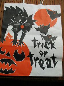 "Vtg Double Sided LG Halloween Paper GIFT BAG 13x16"" Black Cat & JOL Trick Treat"