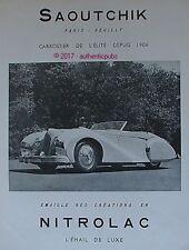 PUBLICITE SAOUTCHIK CARROSSIER NITROLAC EMAIL AUTO DELAHAYE DE 1950 AD PUB RARE